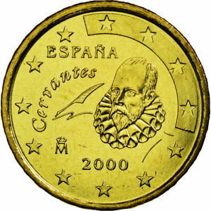 [#449496] Espagne, 10 Euro Cent, 2000, SPL, Laiton, KM:1043