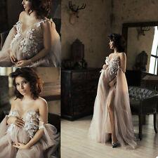Brown Women Dress Kimono Nightgown Bathrobe Sleepwear Pregnant Photograph Shoot