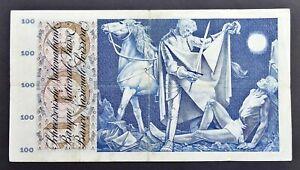Banknote Switzerland 100 Franken, 28/3/1963 St Martin, S/N 34D35371, P#49e~aVF
