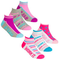 Girls 6 Pairs Star & Print Trainer Cotton Rich sock 6-8 9-12 12-3 Age 2-10 Work