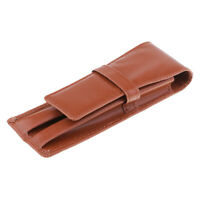 Fountain Pen Leather Case Bag Holder Storage Bag for 3 Pens Collection Brown