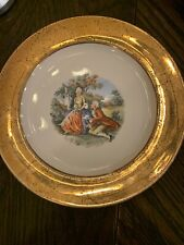 Antique Supreme Chinaware Ciurting Couple 7.25� Plate 22kt Gold