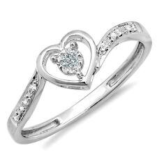14k White Gold Diamond Ladies Heart Promise Bridal Ring 1/10 CT (Size 6.5)