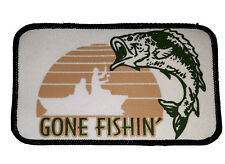 Gone Fishin' Embroidered Patch 3x5  Iron On Fishing Fisherman