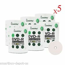 3000 Pack SmartBuy DVD-R 16X 4.7GB White Inkjet Hub Printable Blank Record Disc