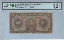 COLOMBIA NOTE BANCO DE LA REPUBLICA $100 ORO 1928 PICK# 375 Aa PMG F 12