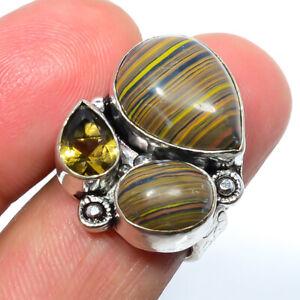 Rainbow Calsilica & Lemon Quartz Gemstone 925 Silver Jewelry Ring s.6 LBR-466