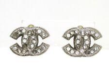 New Listingauth Chanel Silver Hardware Rhinestones Earrings Clip On