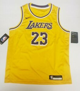 Nike LeBron James #23 Lakers Youth Icon Edition Gold Swingman Jersey L 14-16 NEW