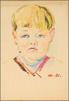 GERMAN ARTIST MATEO CRISTIANI 1890 - 1962 »BLONDER JUNGE« BOY - 35 x 24 cm