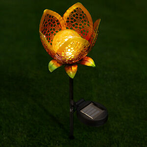 Hollow Flower Solar Powered LED Crackle Glass Globe Stake Lights Garden Path UK