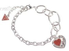 Guess Silver Heart Bracelet Red UBB12010 Valentines Day Gift Jewelry
