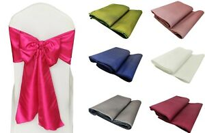 1 - 100 Taffeta Sashes Vibrant Solid Colours Chair Decoration Wedding Party UK