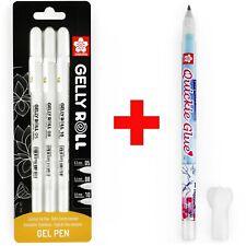 Sakura Gelly Roll Gel Pens - 05/08/10 - White  - Blister of 3 + Quickie Glue Pen