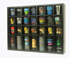 28 Shot Glass Display Case  Rack Wall Shelves Shadow Box Holder Cabinet, SC11-BL