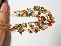 Double Strand Natural Stone Crystal Gold Tone Metal Chain Necklace Vintage