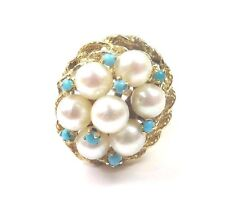 14k Yellow Gold Vintage Women's Cocktail Ring With Turquoise And Pearls