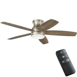 Ashby Park 52 in. White Color Changing Integrated LED Brushed Nickel Ceiling Fan