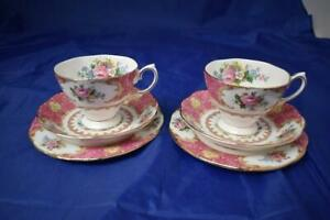 Royal Albert Lady Carlyle Bone China 2x Trio Sets (Cups, Saucers, Plates) LOT D