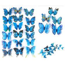 Blue Artificial Butterfly Luminous Fridge Magnet for Home Christmas 10pcs