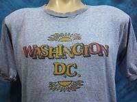 vtg 80s WASHINGTON D.C. SUNSET PAPER THIN RINGER T-Shirt LARGE tourist surf soft