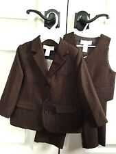 3pc Janie and Jack Special Occasion NWT 18-24m Boys Suit Set Pants Jacket Brown