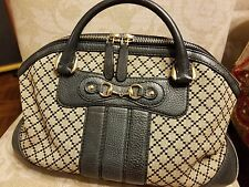 GUCCI Beige Diamante Canvas Green Tone Leather Accent Satchel Handbag