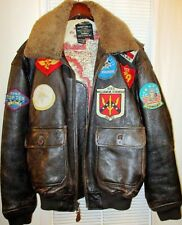 AVIREX FLIEGER PILOTEN LEDERJACKE*TYPE G1*TOP GUN*AIR FORCE*BRAUN*