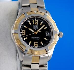 Mens Tag Heuer Exclusive 18K Gold & SS Professional watch - Black Dial - WN1154