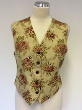 MULBERRY BEIGE & PINK WITH GREEN FLORAL DESIGN V NECK WAISTCOAT SIZE 12