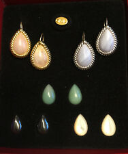 Kenneth Jay Lane Gemstone Earring Set, Gold & Silver Tone, 5 Sets of Cabochons
