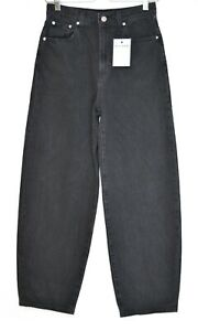 Womens Levis BALLOON LEG Washed Black PREMIUM High Waisted Wide Jeans 8 W27 L28