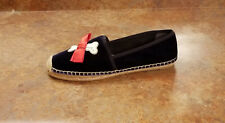 New! Tory Burch 'Barkley' Blue Velvet Dog Espadrille Flats Womens 11 M MSRP $228