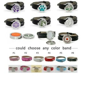 Stainless Steel Aromatherapy Essential Oil Diffuser Locket PU Leather Wristband