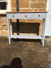 H80 W100 D25cm BESPOKE CONSOLE HALL TABLE F&B PLUMMET GREY SATIN REAL OAK TOP