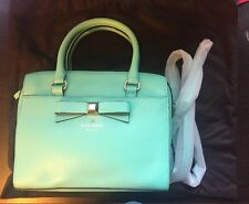 Kate Spade MONTFORD PARK SMOOTH ASHTON Leather Bow Bag Giverny Blue handbag