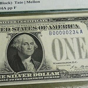LOW DIGITS SN: B00000234A. $1 1928  Silver Certificate.  BA Block. PMG 64 EPQ.