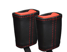 RED STITCHING 2X FRONT SEAT BELT LEATHER COVERS FITS SEAT LEON MK3 2013-2016