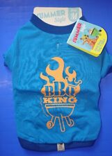 New With Tags SUMMER STYLE BBQ KING DOG T-SHIRT Blue Medium Dog Clothes