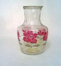 Vintage Anchor Hocking Rose Pattern Glass Juice Pitcher Carafe & Glass Lid