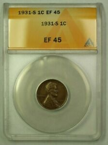 1931-S Lincoln Wheat Cent 1c ANACS EF-45 (G) (WW)