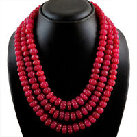 RARE 1250.00 CTS EARTH MINED 3 STRAND RICH RED RUBY ROUND CARVED BEADS NECKLACE