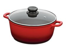 TUFFSTEEL FORGE STOCKPOT STOCK POT w/ GLASS LID COOKWARE NON STICK 20CM RED