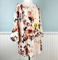 Size 1X Charter Club Stretch 3/4 Sleeve Floral Top Blouse Shirt Women's Plus NWT