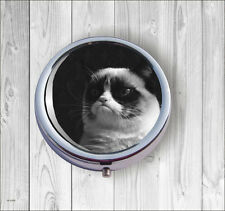 CAT FUNNY GRUMPY FACE PILL BOX ROUND METAL -hmp0Z