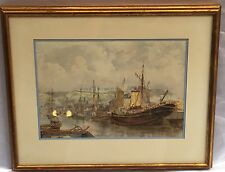 """MAGNIFICENT 1900'S SHIP, HARBOR SCENE WATERCOLOR PAINTING SIGNED   """"CALDWELL"""""""