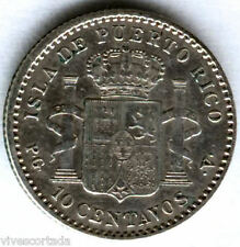 Alfonso XIII 10 Centimes 1896 Puerto Rico @ EXCELLENT @