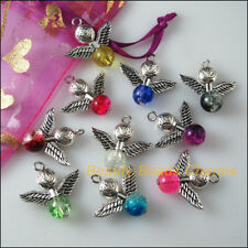 10 New Charms Mixed Glass Dancing Angel Wings Lotus Pendants 24mm