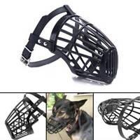Pet Dog Muzzle Mouth Mesh Mask Cover Basket No Barking Chewing Biting Black