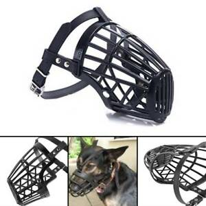 Pet Dog Muzzle Mouth Mesh Mask Cover Basket No Barking Chewing Biting Black